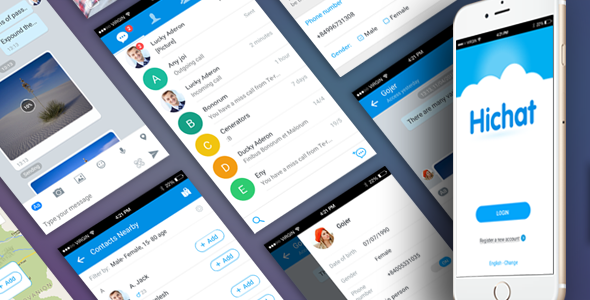 Ionic theme Mobile App for messaging application - Hichat - CodeCanyon Item for Sale