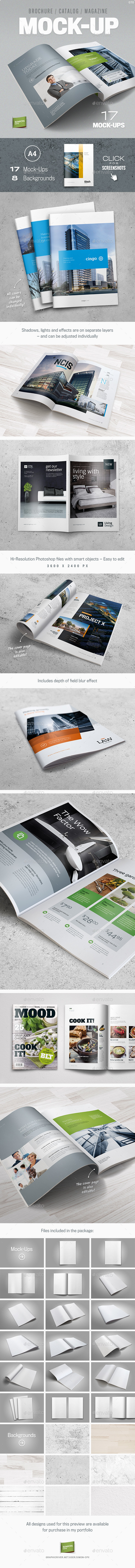 Mock-Up for Brochure / Catalog / Magazine - Photorealistic - A4 - Brochures Print