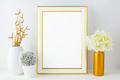 White frame mockup with small cactus - PhotoDune Item for Sale