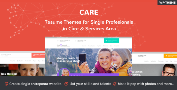Care - Resume Themes for Single Profesionals in Care & Service Area