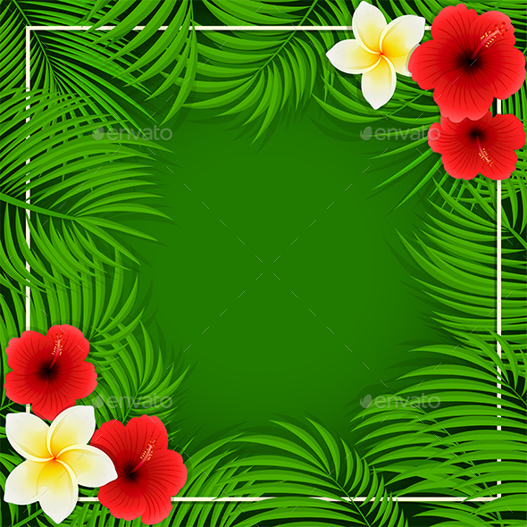 Hawaiian Flowers On Green Background By Losw
