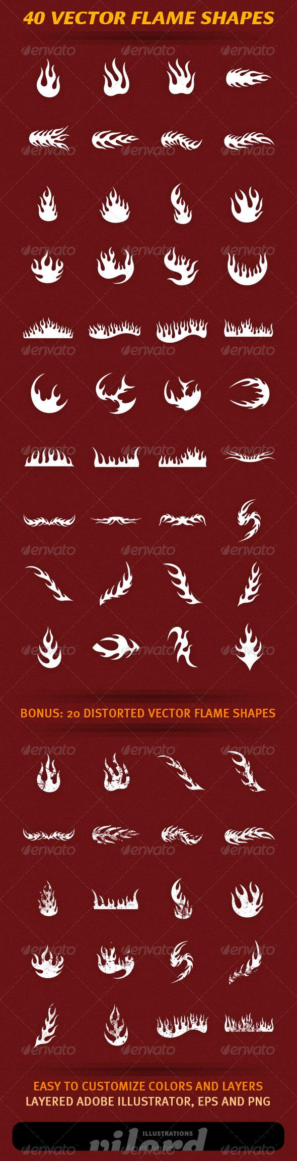 40 Vector Flame Shapes - Decorative Vectors