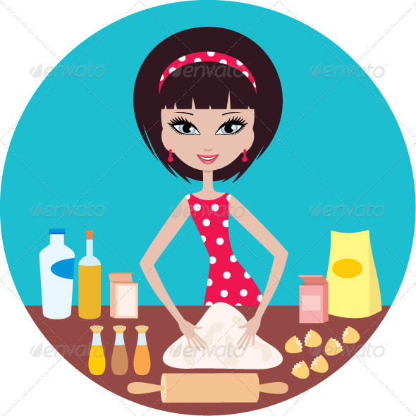 Young woman prepares dough - Characters Vectors