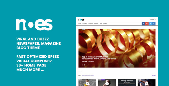 Noes – Buzz & Viral Newspaper, Magazine, Blog WordPress Theme