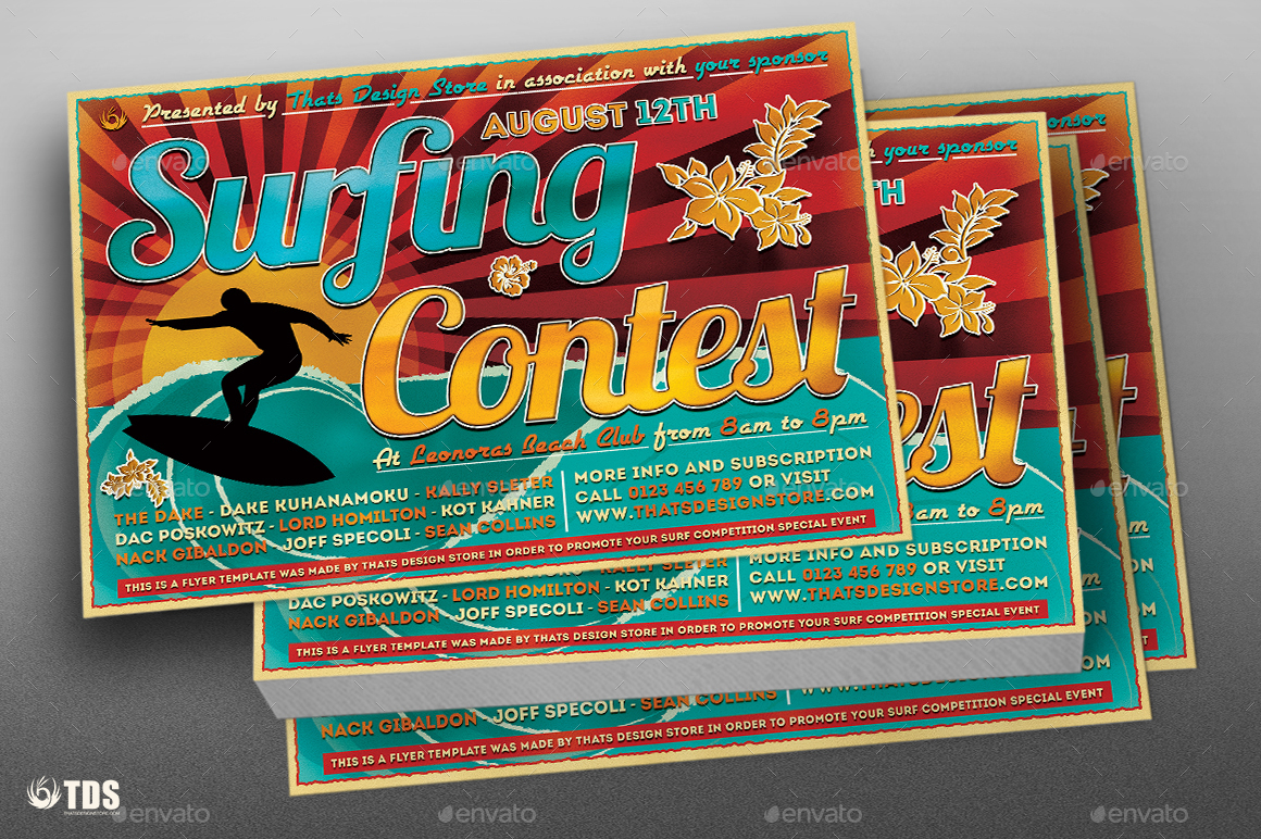 Surfing Contest Flyer Template by lou606 – Competition Flyer Template