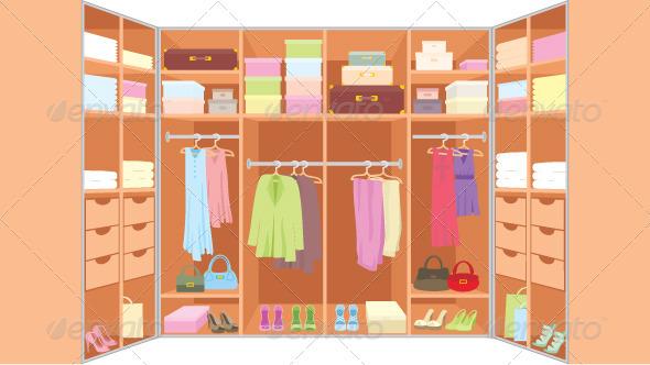Wardrobe room - Objects Vectors