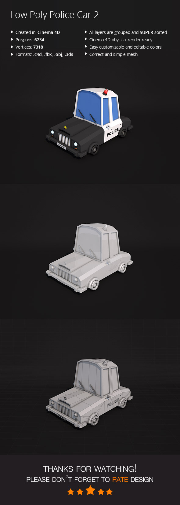 Low Poly Police Car 2 - 3DOcean Item for Sale