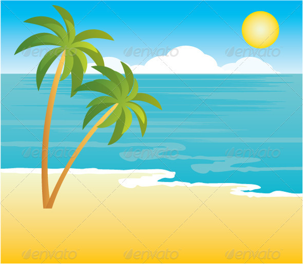 Beach with palm trees - Nature Conceptual