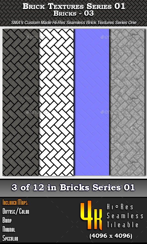 Hi-Res Texture Bricks-03 of Brick Textures - S01 - 3DOcean Item for Sale
