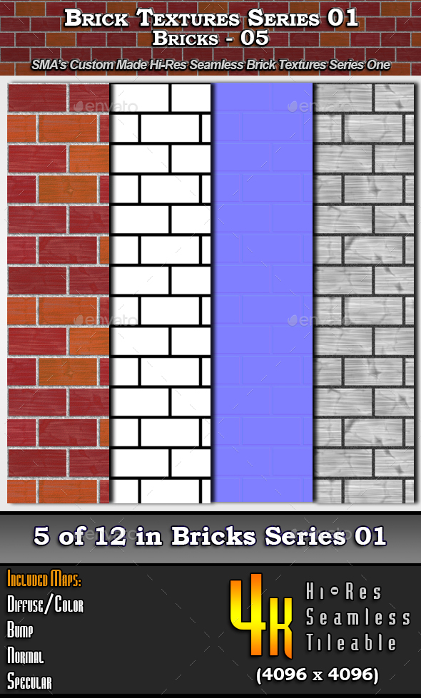Hi-Res Texture Bricks-05 of Brick Textures - S01 - 3DOcean Item for Sale