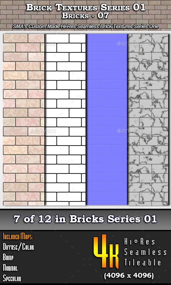 Hi-Res Texture Bricks-07 of Brick Textures - S01 - 3DOcean Item for Sale