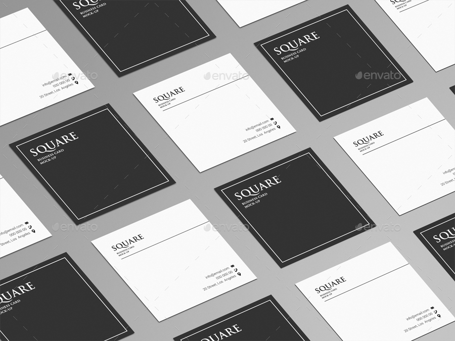 Square Business Card Mock-Up by Trgyon | GraphicRiver