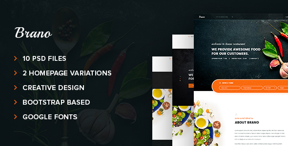 Brano – Food & Restaurant PSD Template