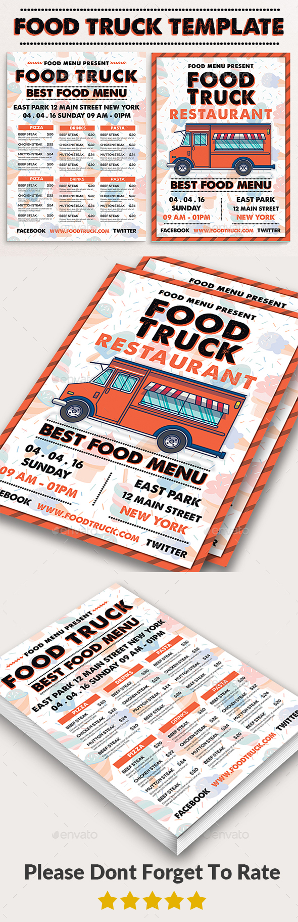 Food truck print templates by afjamaal graphicriver for Food truck menu design