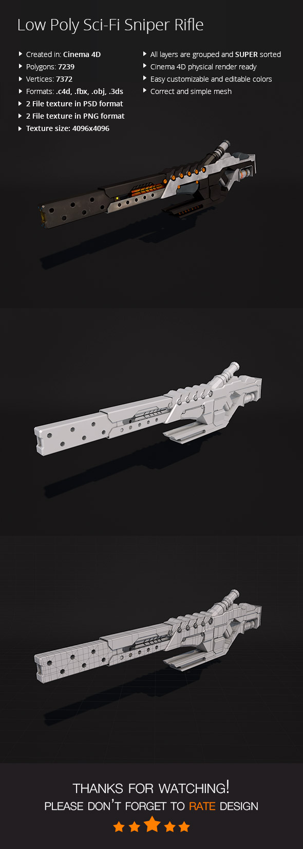 Low Poly Sci-Fi Sniper Rifle - 3DOcean Item for Sale