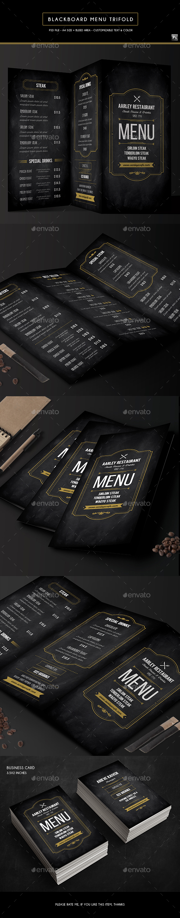 Blackboard food menu trifold business card by arifpoernomo blackboard food menu trifold business card food menus print templates colourmoves
