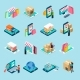 Mobile Shopping Isometric Icons Set - GraphicRiver Item for Sale