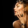 Beauty fashion woman with golden makeup, accessories and nails - PhotoDune Item for Sale