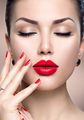 Beautiful fashion woman model face portrait with red lipstick an - PhotoDune Item for Sale