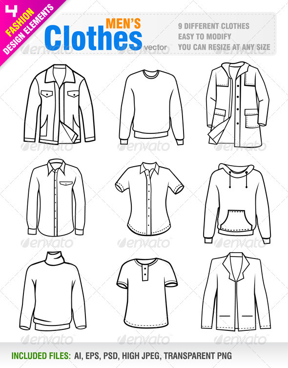 Men's Clothes - Objects Vectors