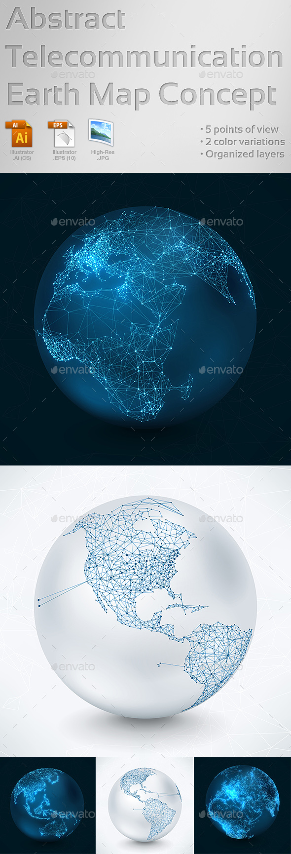 Abstract Telecommunication Earth Map Concept - Web Technology