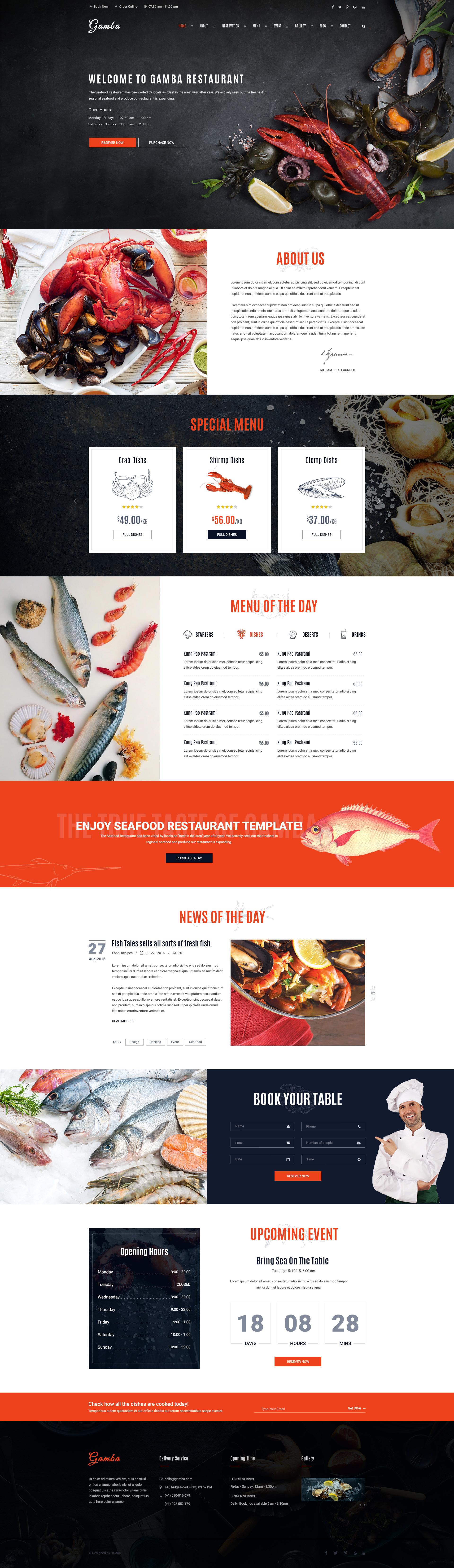Gamba - Food & Restaurant PSD Template by GambaThemes | ThemeForest