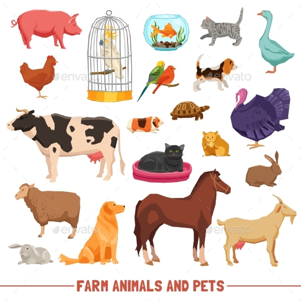 Farm Animals and Pets Set