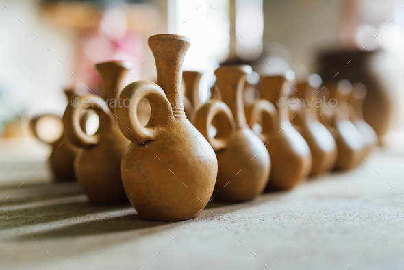 There are many clay pots - Stock Photo - Images