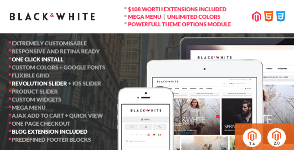 Black&White – Responsive Magento 2 and Magento 1 Theme