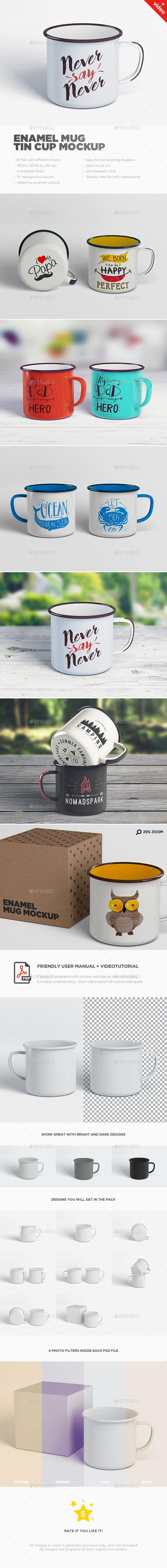 Enamel Mug / Tin Cup MockUp - Food and Drink Packaging