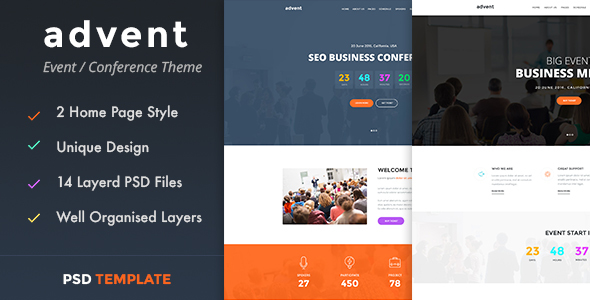 advent – Event & Conference PSD Template