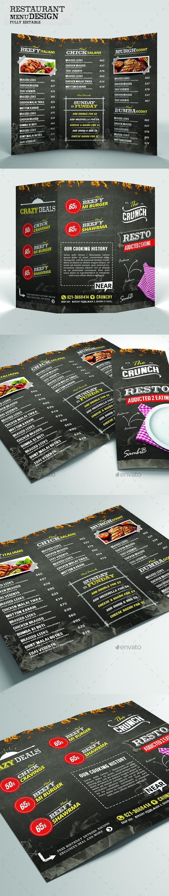 Food Menu - Chalk Board Restaurant - Food Menus Print Templates
