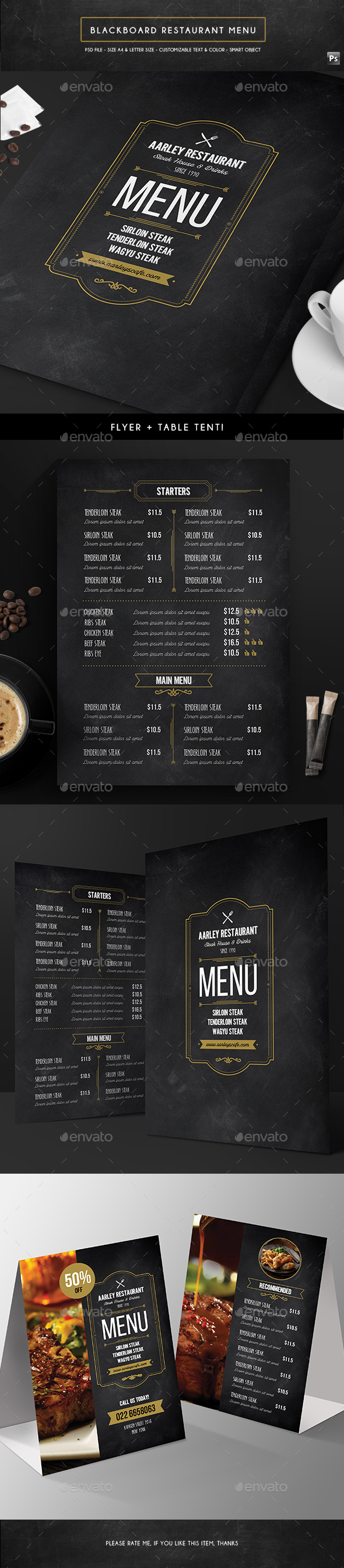 Blackboard Menu Flyer + Table Tent