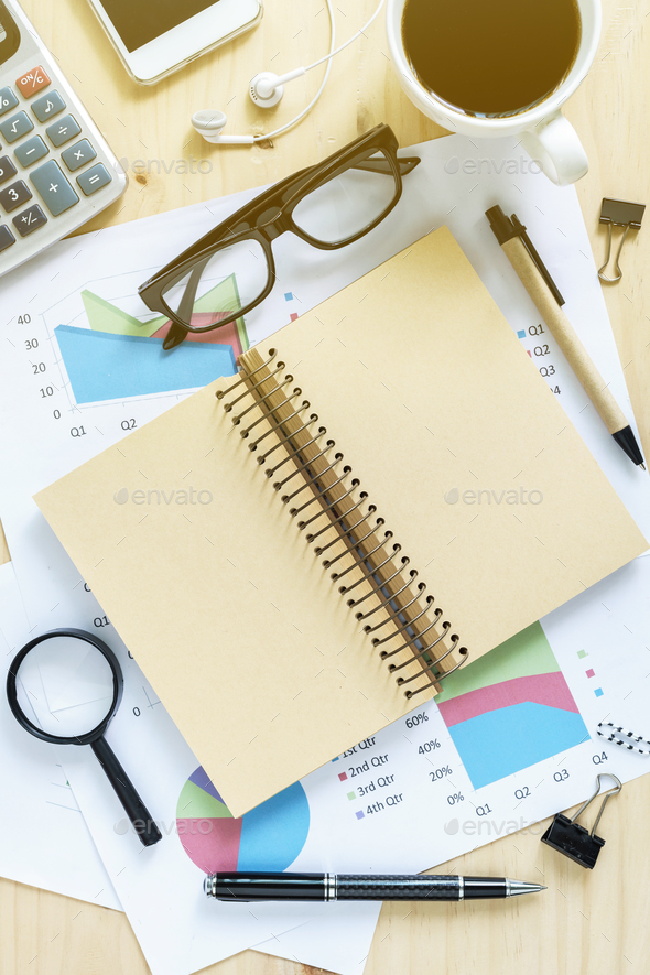 Blank notebook on Desk office - Stock Photo - Images