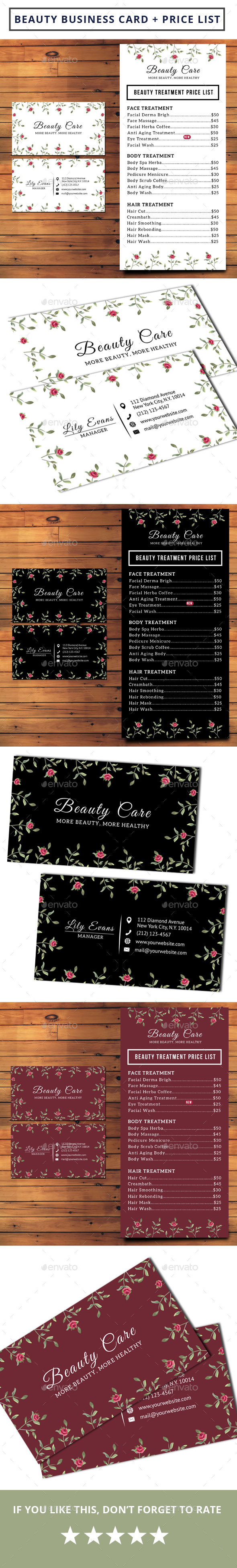 Beauty business card pricelist by iamwulano graphicriver beauty business card pricelist industry specific business cards reheart Choice Image