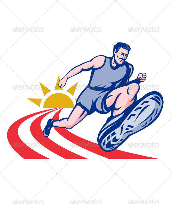 Marathon Runner Running Jogging Retro - Characters Vectors