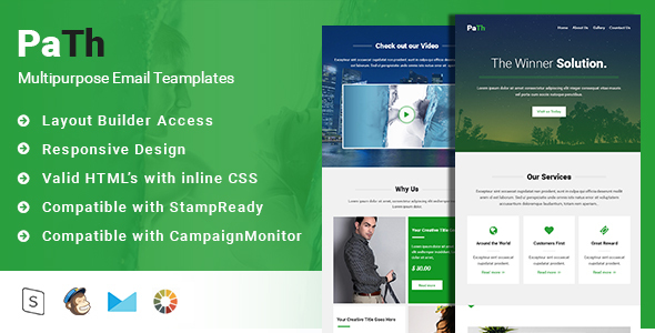 Path-Multipurpose Responsive Email and Newsletter Template + StampReady Builder