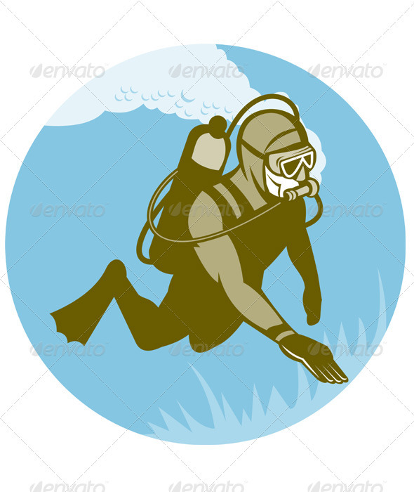 Scuba Diver Diving Retro Style - People Characters