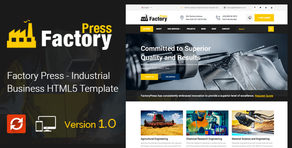 Factory Press - Industrial Business HTML5 Template - Business Corporate