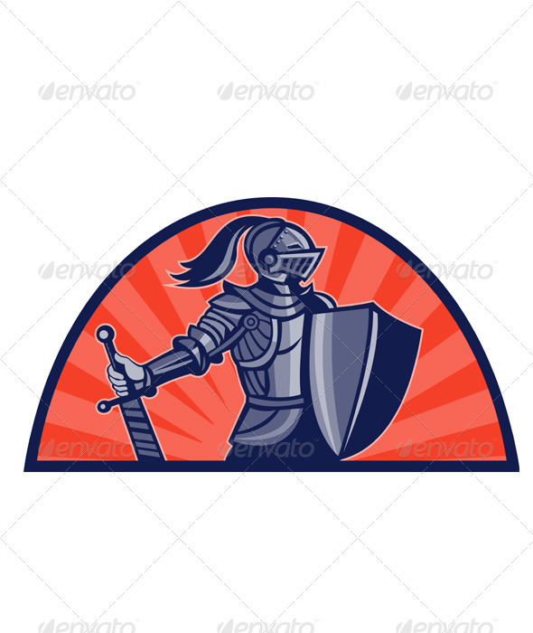Knight With Armor and Sword Retro - People Characters