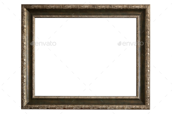 Brass picture frame on white background - Stock Photo - Images