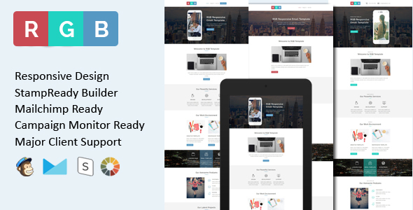 RGB - Multipurpose Responsive Email Template + Stamp Ready Builder