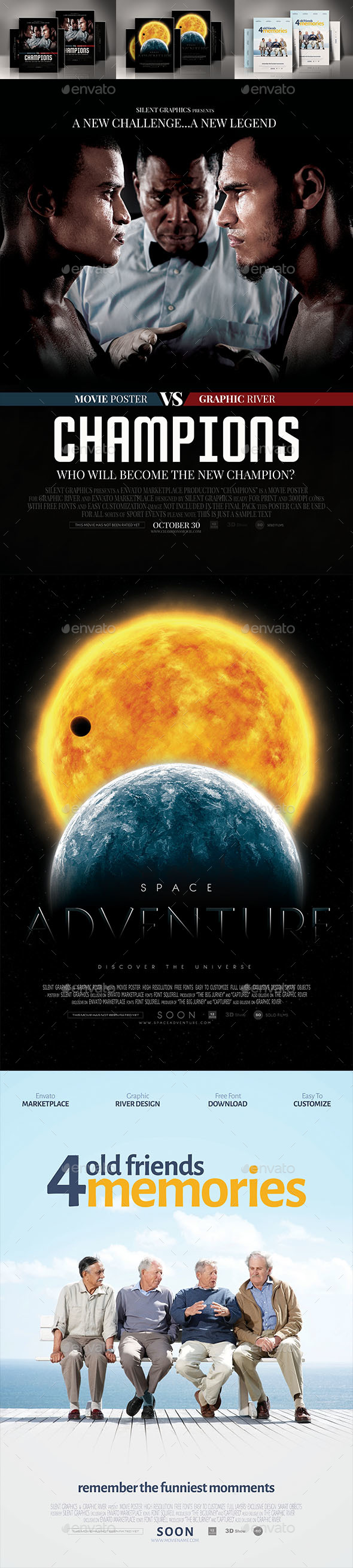 Sport Comedy Space Movie Posters Bundle