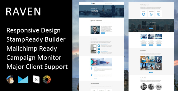 Raven - Multipurpose Responsive Email Template + Stampready Builder - Email Templates Marketing
