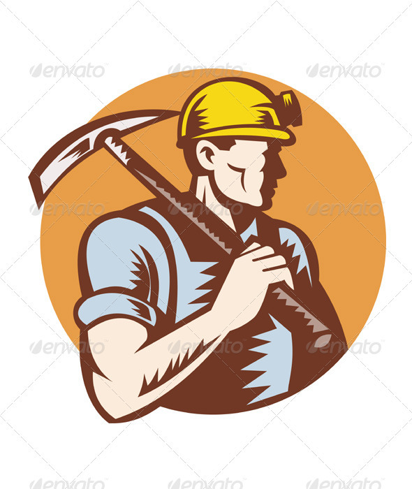 Coal Miner With Pick Axe Retro Woodcut - People Characters