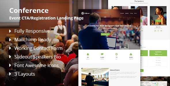 Conference - Event CTA/Registration Landing Page - Events Entertainment