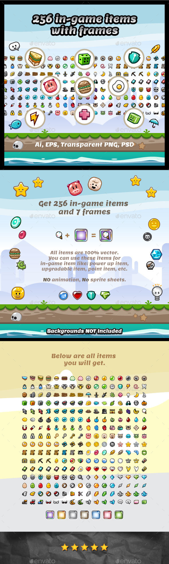 256 Vector Game Items - User Interfaces Game Assets
