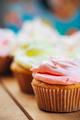 Sweet Gourmet Cupcake On Wooden Table