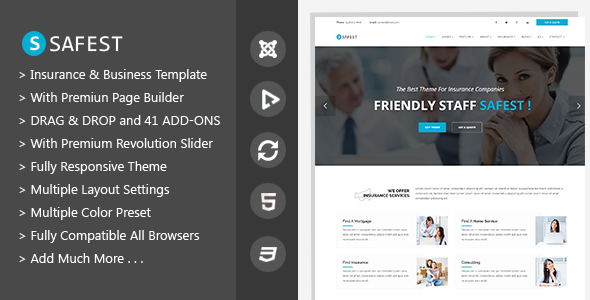 Safest – Insurance Agency & Business Joomla Template