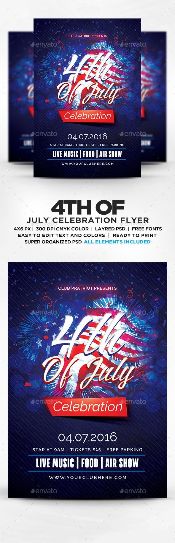 4th of july celebration flyer template psd by designblend for 4th of july menu template